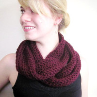 Crochet Scarf Wine Burgundy Oxblood Infinity Cowl Circle Scarf