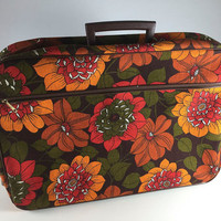 Vintage Orange Red Green Flower Power Canvas Suitcase Retro Mod 1960's Floral Fabric Luggage Carry On