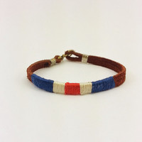 Red/White/Blue Nautical Flag Bracelet w/ Anchor Clasp Metal Ends