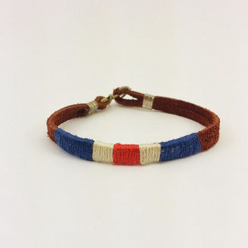 Red White Blue Nautical Flag Bracelet W Anchor Clasp Metal Ends