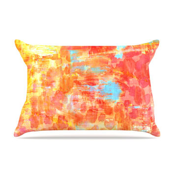 "Ebi Emporium ""Pastel Jungle"" Orange Red Pillow Case"