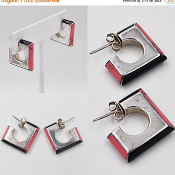 ON SALE Vintage Mexico 900 Silver, Rhodonite & Onyx Pierced Earrings, Square, Inlaid, Mexican, Pink and Black, Perfect Spring Colorl! #b359