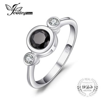 JewelryPalace Succinct 1.3ct Round Created Black Spinel Bezel Setting 3 Stone Ring 925 Sterling Silver Women Anniversary Jewelry