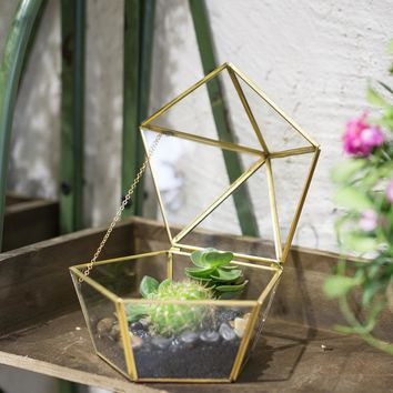 Modern DIY Artistic Brass Clear Jewel-boxed Shape Glass Geometric Terrarium Plant Moss flower pot Succulent Planter seedling Box