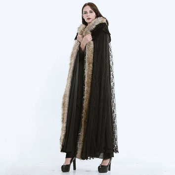 Fashion Gothic Women Fur Hooded Long Jacket Coats for Women Steampunk Black Lace Warm Cloak Capes Overcoats Winter