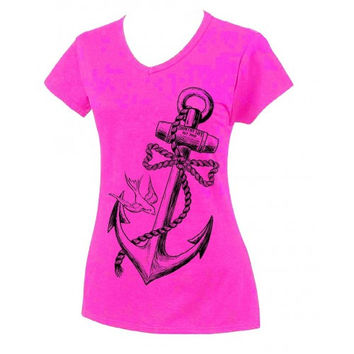 Country Life Outfitters Anchor Bow Pink Fitted V Cut Vintage Girlie Bright T Shirt