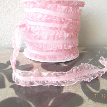 Baby Pink White Ruffled elastic lace Riley Blake (Sold by the yard) for hair accessories