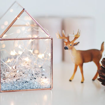 Glass House / Fairy Lights Display / Christmas Decor / Holiday Lights / Handmade Glass Terrarium / Geometric Jewelry Box / Stained Glass
