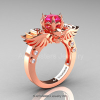 Art Masters Classic Winged Skull 14K Rose Gold 1.0 Ct Pink Sapphire Diamond Solitaire Engagement Ring R613-14KRGDPS