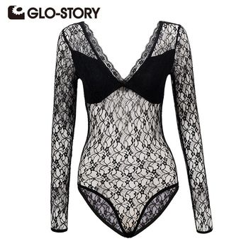 GLO-STORY Wome's Lace Bodysuits Jumpsuit 2017 New Long Sleeve Deep V-Neck Sexy Embroidered Hollow Out Playsuits Jumpsuits 4855