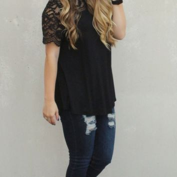 Timeless Glamour Scalloped Lace Short Sleeve Top - Black