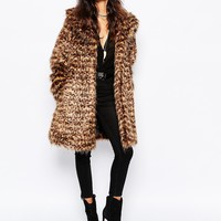 Faux London Fluffy Faux Fur Thigh Length Coat In Leopard