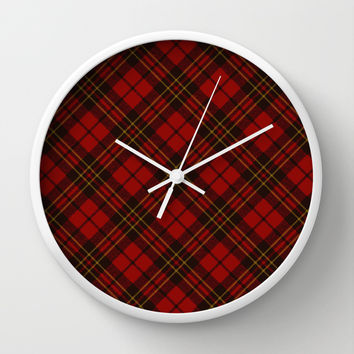 Adorable Red Christmas tartan Wall Clock by PLdesign | Society6