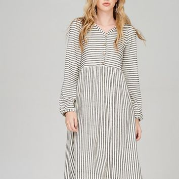Megan Oatmeal and Black Ribbed Striped Button Front Dress