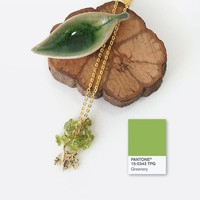Pantone Color of the Year 2017: Greenery Inspired Necklace, Peridot Stone Chips Jewelry, August Birthstone