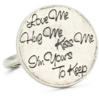 Ettika Silver Colored Love Me Hug Me Kiss Me I'm Yours to Keep Adjustable Ring - designer shoes, handbags, jewelry, watches, and fashion accessories | endless.com
