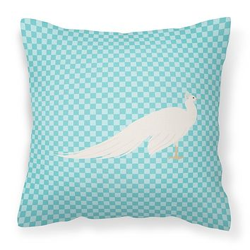 White Peacock Peafowl Blue Check Fabric Decorative Pillow BB8100PW1414