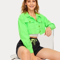 Neon Green Flap Pocket Crop Denim Jacket
