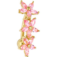 Solid 14KT Yellow Gold Pink REVERSE Cubic Zirconia LILY DROP Belly Ring | Body Candy Body Jewelry