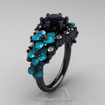Nature Classic 14K Black Gold 1.0 Ct Black and White Diamond Turquoise Orchid Engagement Ring R604-14KBGDTBD