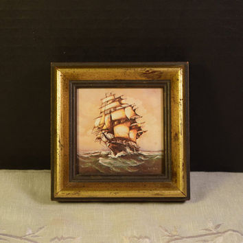 Nautical Oil Painting Vintage Original Ship Oil on Canvas Small Painting Framed Marine Boat Tall Ship Layered Frame Home Decor Beach House