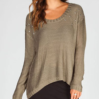 Full Tilt Nail Head Womens Hi Low Sweater Olive  In Sizes