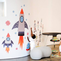 Starry Sky Space Rockets Fabric Wall Decals