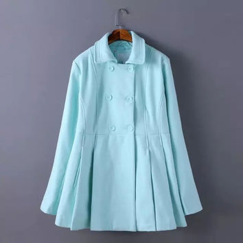 Long-Sleeve Pleated Collar Trench Coat