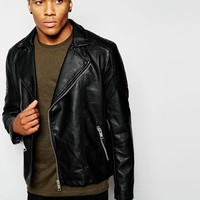 New Look | New Look Faux Leather Asymmetric Biker Jacket at ASOS