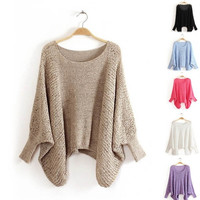 Hot Sale New Women's Solid Color Loose Crew Neck Batwing Sleeve Sweater = 1946345092