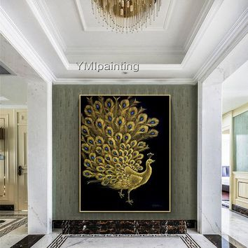 Abstract painting on canvas Original Peacock decor Gold art Animal acrylic scrape painting Wall Picture home decor