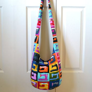 Hobo Bag, Sling Bag, Sewing Machines, Bright, Colorful, Sewing Crafting Lovers, Geekery, Hippie Purse, Crossbody Bag