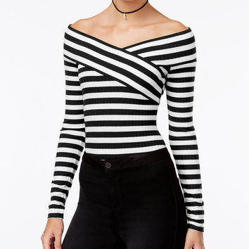 Material Girl Juniors' Striped Off-The-Shoulder Bodysuit, Only at Macy's - Juniors Material Girl - Macy's