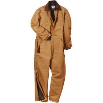 Dickies TV239BDSR Men's Regular Fit Duck Insulated Coveralls, Small, Brown