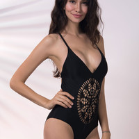 Black Strappy V Neck Backless Crochet Lace Front Swimsuit