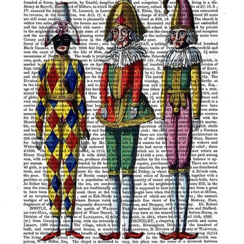 Puppet Trio - Vintage puppets print vintage clown print Polichinelle harlequin suit mask wall art, on dictionary, clown picture illustration