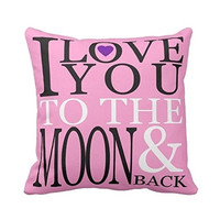 I Love You to the Moon and Back Qutoe Throw Pillow Case Cushion Cover Home Decorative Valentine's Day Gift Anniversary Day Gift