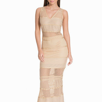 V-Neck Lace Blocked Maxi Dress, WOW Couture