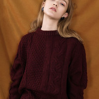 Dark Red Cable Knit Oversized Sweater