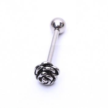 1pcs Flowers Tongue Ring Stainless Steel Barbell Tongue Piercing Stud Plug Jewelry lovely Body Piercing Jewelry for women men