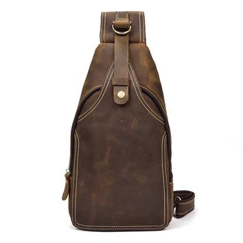 Men's Crazy Horse Leather Chest Bag Small Genuine Leather Travel Bag Vintage Cow Leather Crossbody Bag Cowhide Sling Bag