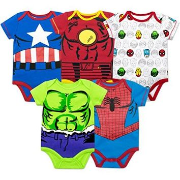 Marvel Baby Boys' 5 Pack Onesuits - The Hulk, Spiderman, Iron Man and Captain America (3-6 Months)