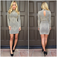 Prism Metallic Bodycon Long Sleeve Dress