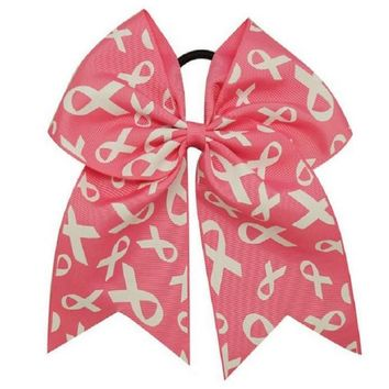 Handamde Boutique Breast Cancer Cheer Hair Bow
