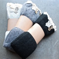 knee high vintage style boot socks with buttons + lace (3 colors)