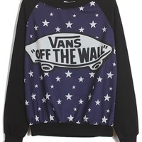 Sheinside Black Blue Long Sleeve Stars Skateboard Print Sweatshirt (One-Size, Black)