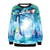 Ninimour- Women's Digital Print Pullovers Sweatershirts (alice in Wonderland)