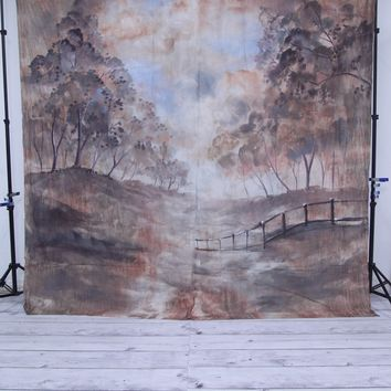 Scenic bridge with trees Hand Painted Backdrop Muslin - 10x10 - LCMOSL197 - LAST CALL