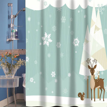 Forest Friends Holiday Fabric Shower Curtain