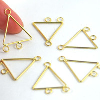 Asymmetrical Triangle Metal Multi Strand Connectors - Chandelier Links - 2 to 1 Strand Connector  - Gold - Jewellery and Craft Supplies